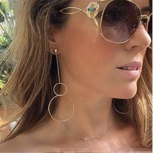 Gold Long Hanging Double Hoop Earrings